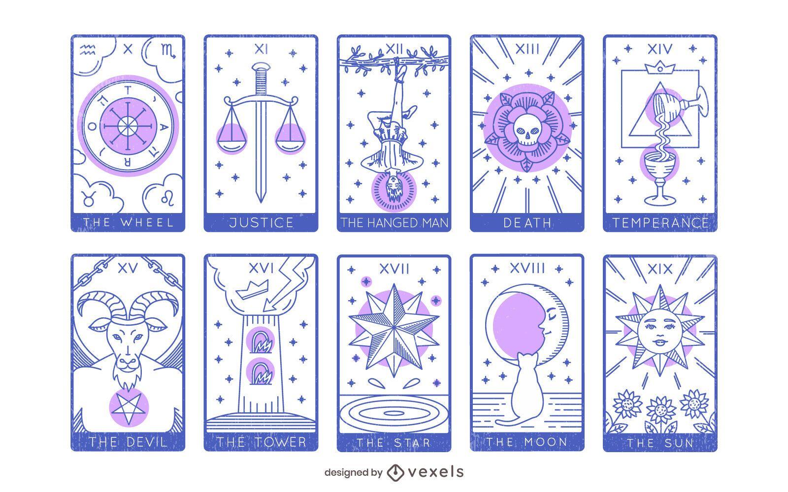 Tarot Major Arcana Design Set 10 to 19