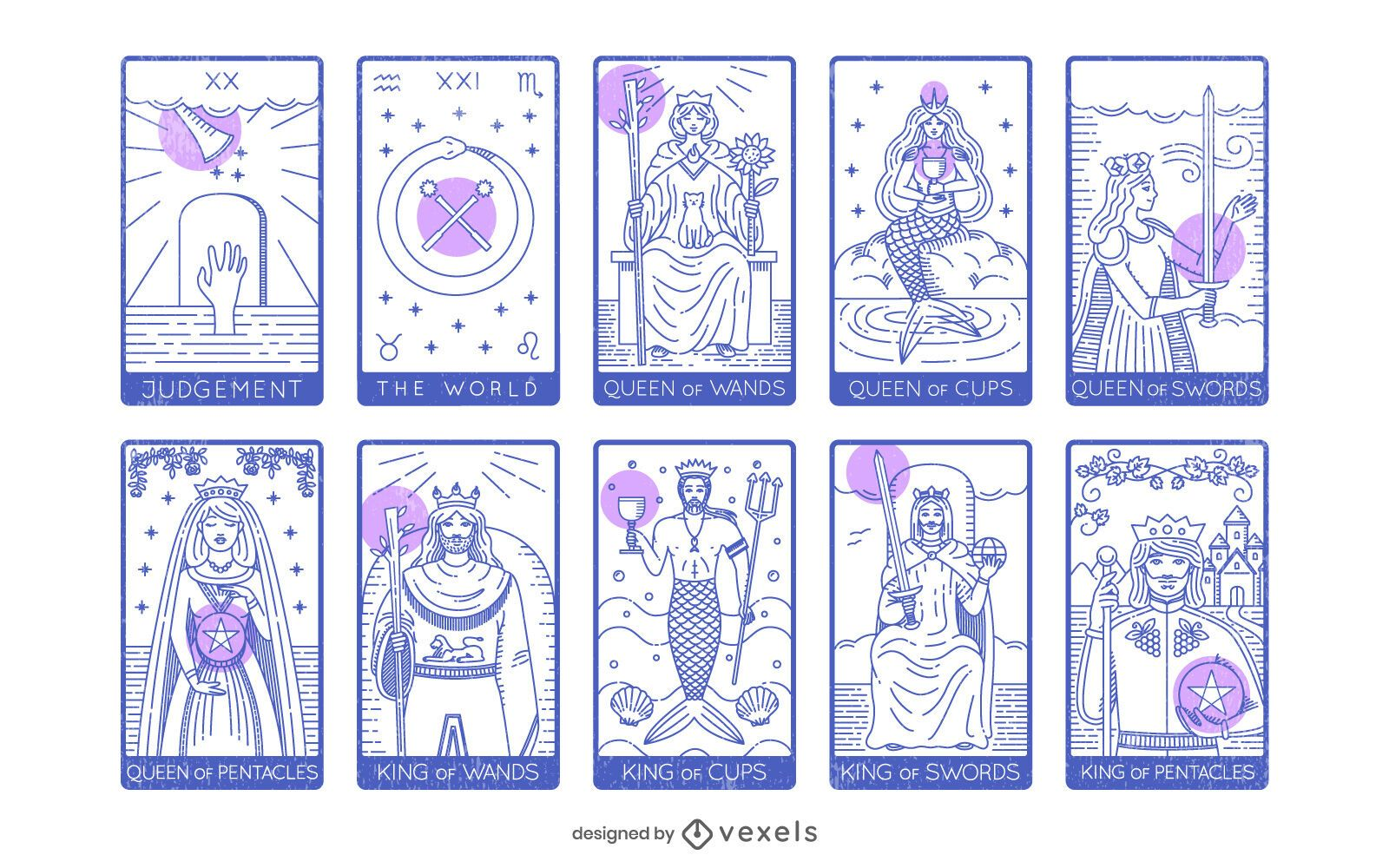 Pacote de cartas de tarô Arcanos Maiores e Menores