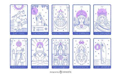 Paquete de arcanos mayores de cartas del tarot