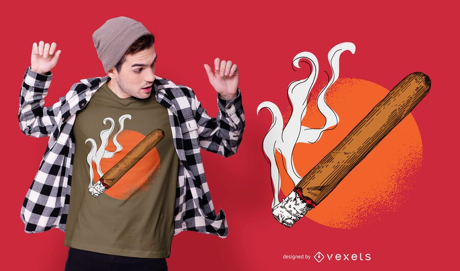 Design de camisetas Lit Cigar