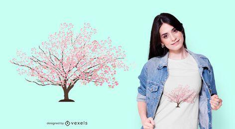 Diseño de camiseta Sakura Tree