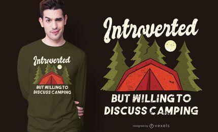 Design de camiseta com citações de acampamento introvertido