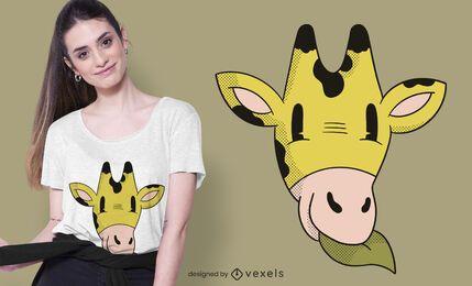 Design de camiseta de desenho animado da cabeça do girafa