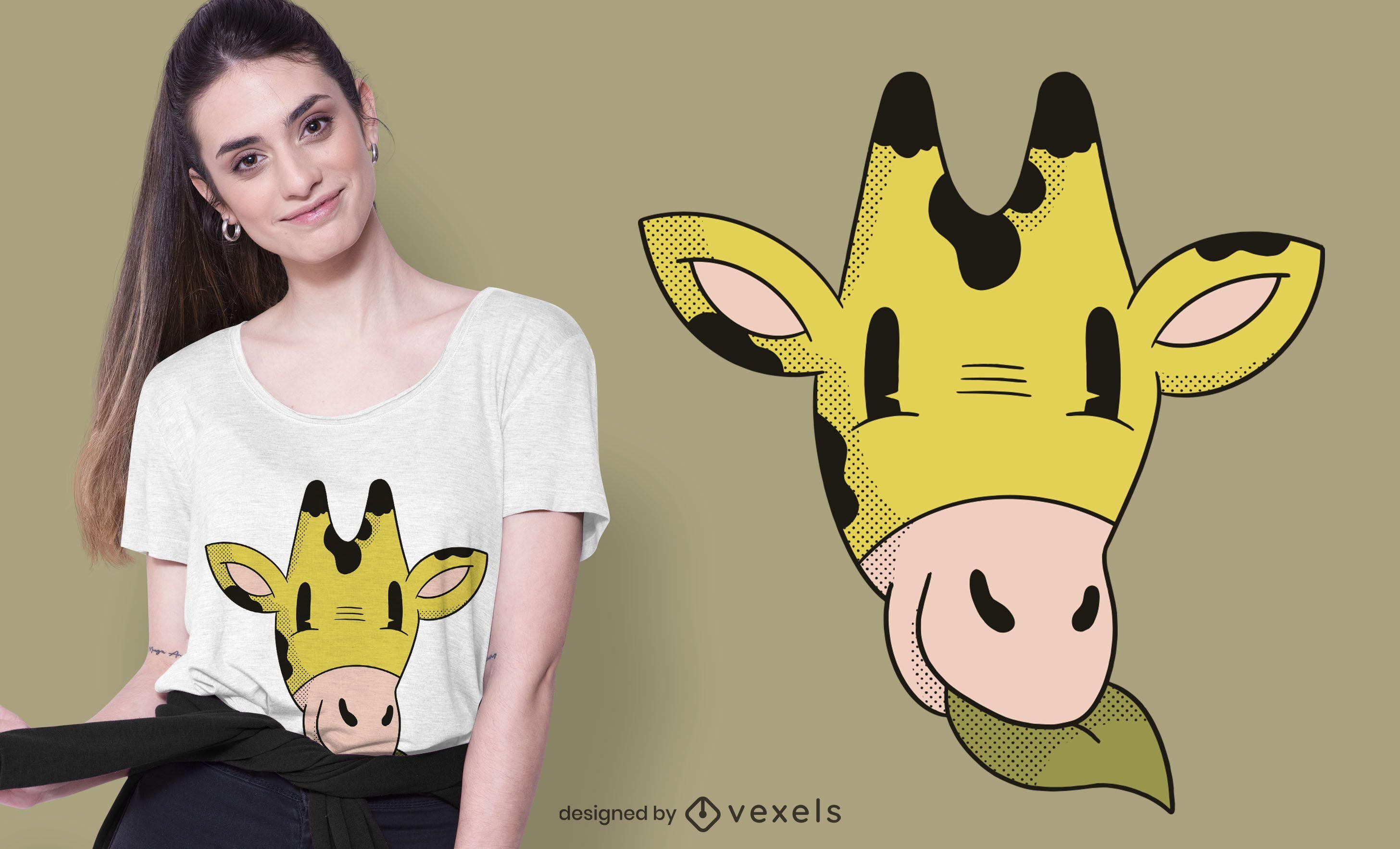 Giraffe Head Cartoon T-shirt Design