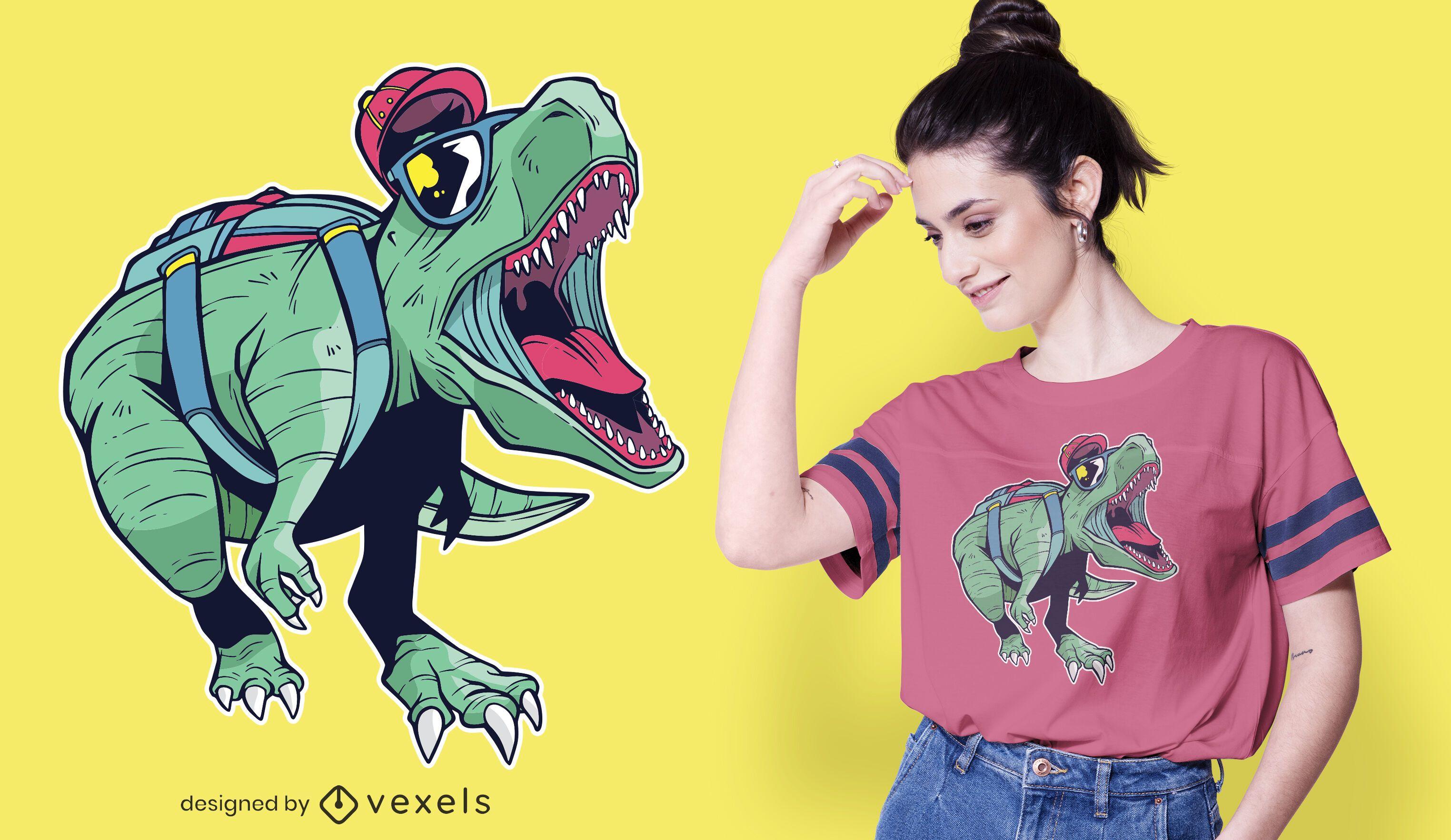 Diseño de camiseta de gafas de sol de dinosaurio.