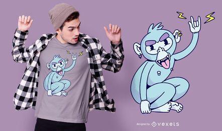 Diseño de camiseta Rocker Monkey
