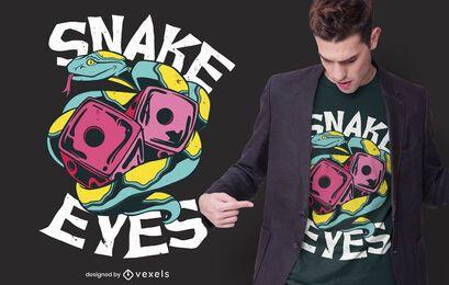 Diseño de camiseta de dados de ojos de serpiente.