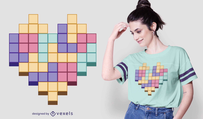 Block Game Heart T-shirt Design