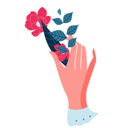 Mano de San Valentín deja rosa San Valentín