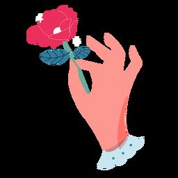 San Valentín con mano rosa