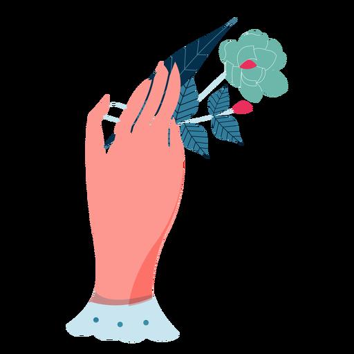 Valentines rose leaves holding hand Transparent PNG