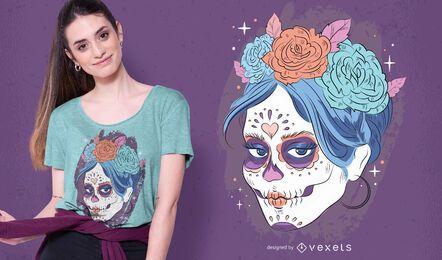 Diseño de camiseta de calavera de dia de los muertos