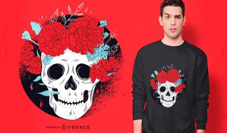 Day of the dead skull t-shirt design