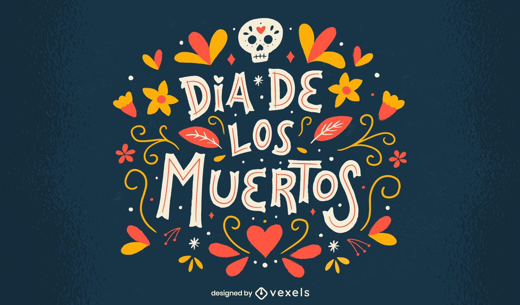 Diseño de letras de flores del día de muertos.