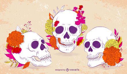 Conjunto de ilustración de calaveras del día de los muertos