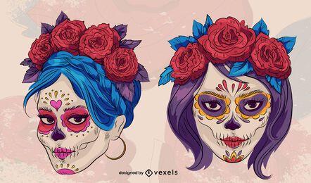 Diseño de ilustración de maquillaje de día de muertos
