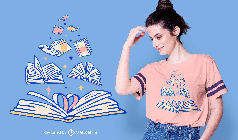 Diseño de camiseta de libros abiertos.