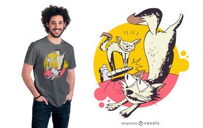 Diseño de camiseta de aspiradora de gato.