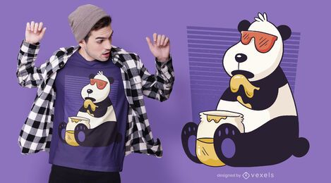 Diseño de camiseta panda miel