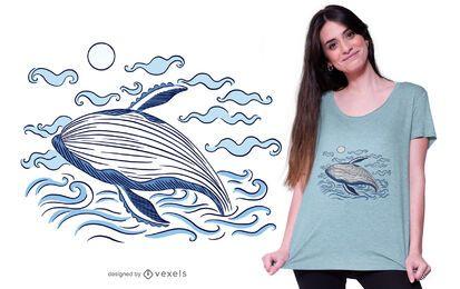 Design de camiseta do oceano de baleia