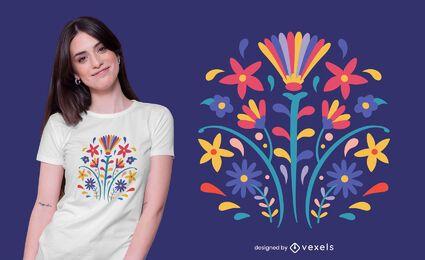 Diseño de camiseta de flores estilo otomí