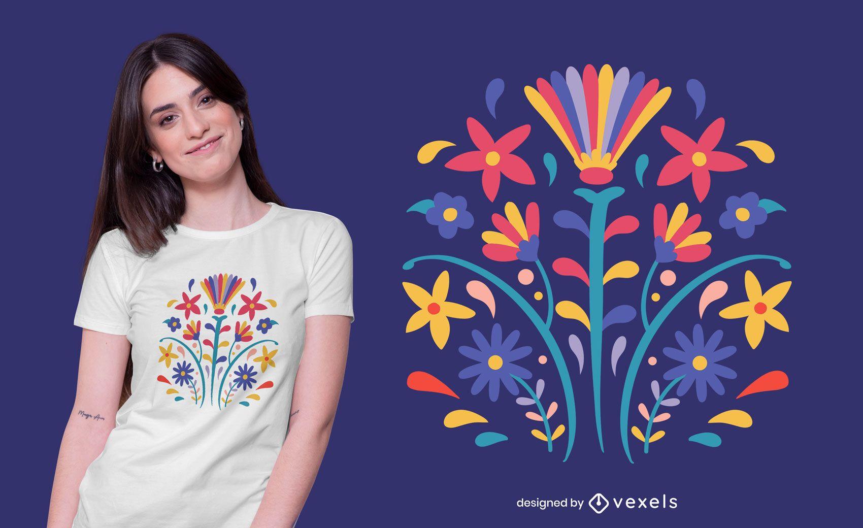 Otomi style flower t-shirt design
