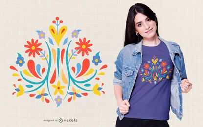 Design de t-shirt de flor Otomi
