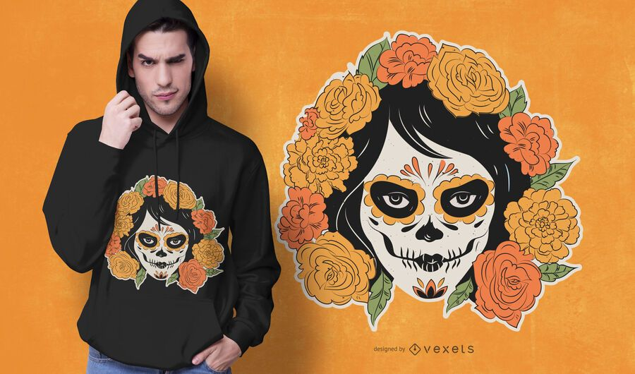 Day of the dead woman t-shirt design