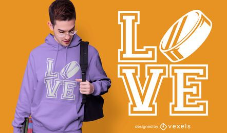 Diseño de camiseta de hockey de amor.