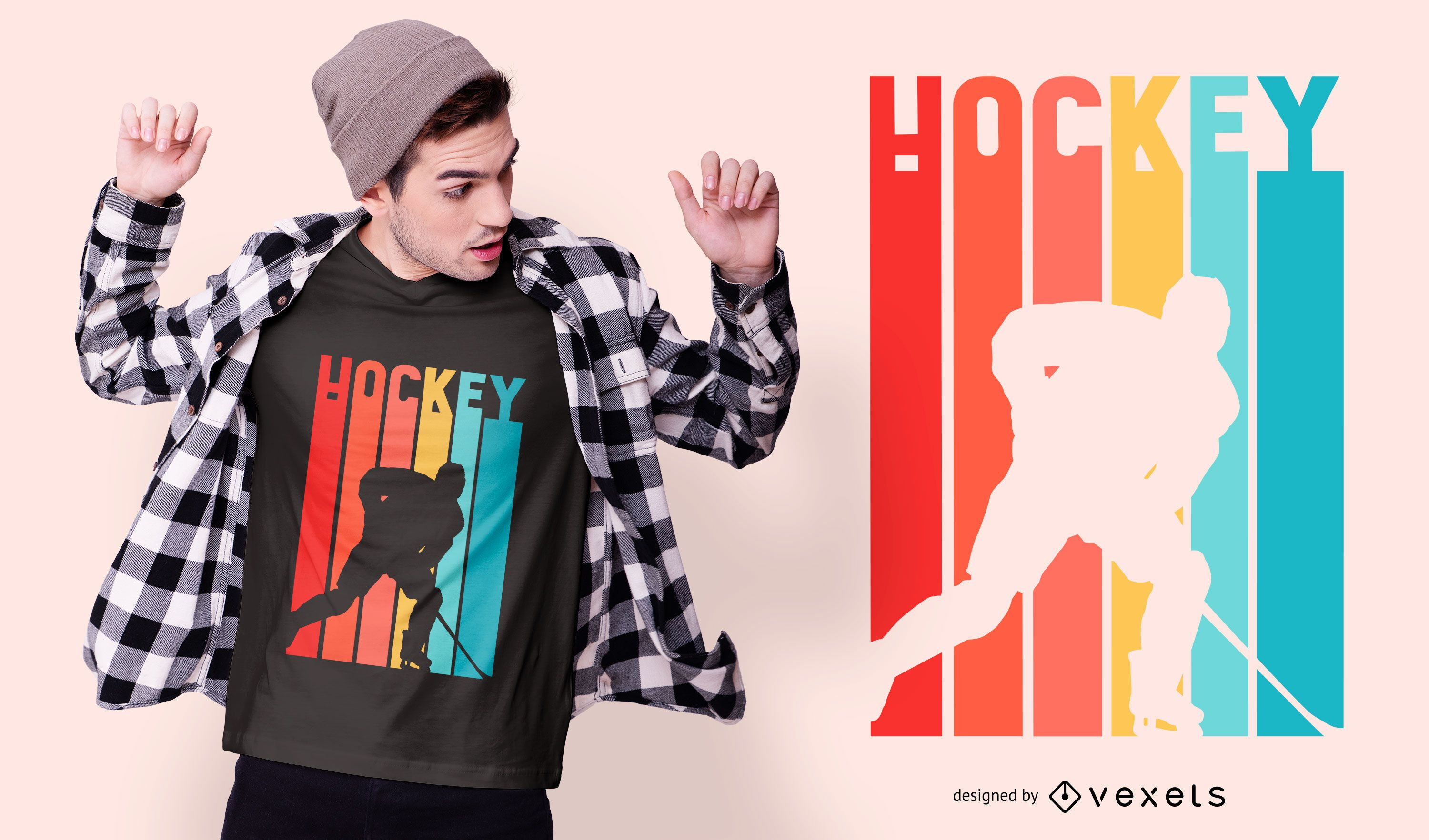 Colorful hockey player t-shirt design