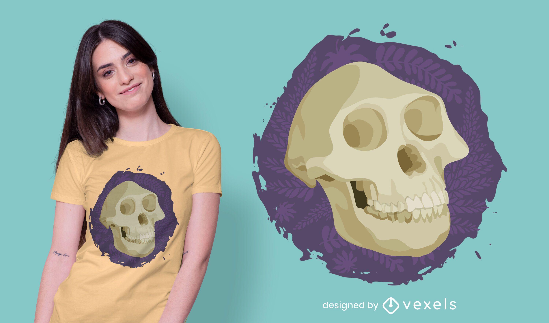 Design de camiseta com caveira Australopithecus