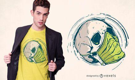 Diseño de camiseta de máscara médica de calavera.