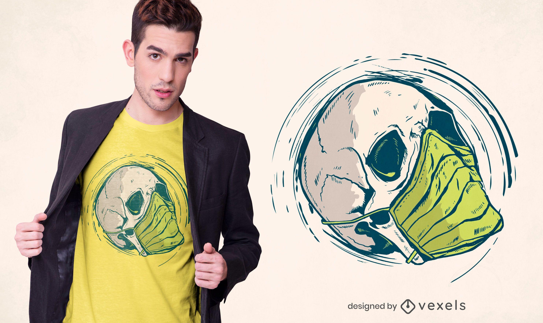 Design de camiseta com máscara médica em crânio