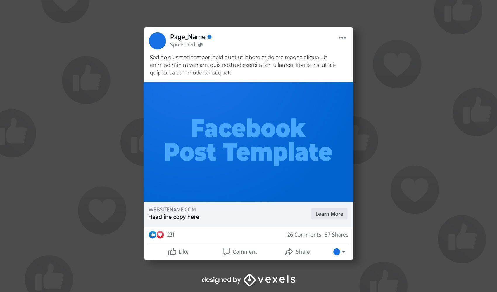 Modelo de postagem de mídia social no Facebook
