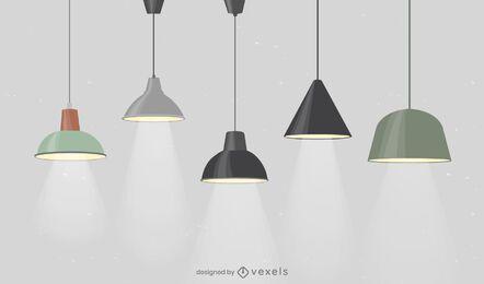 Pacote de design de lâmpadas de escritório