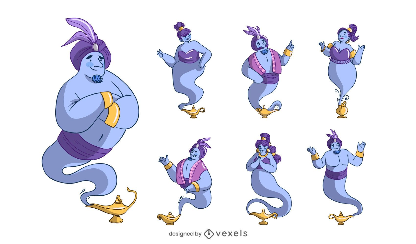 Lamp Genie Cartoon Design Set