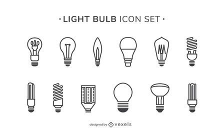 Light bulbs stroke icon set