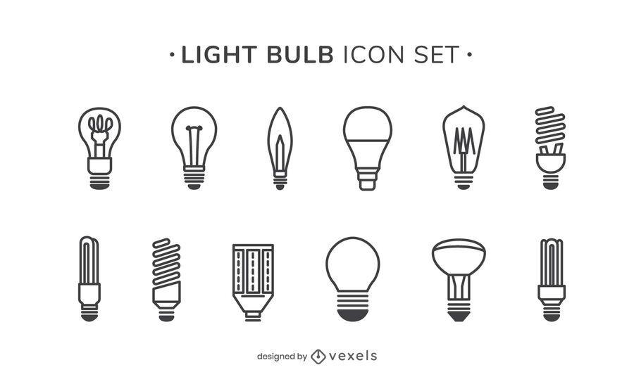 Light bulbs stroke icon set
