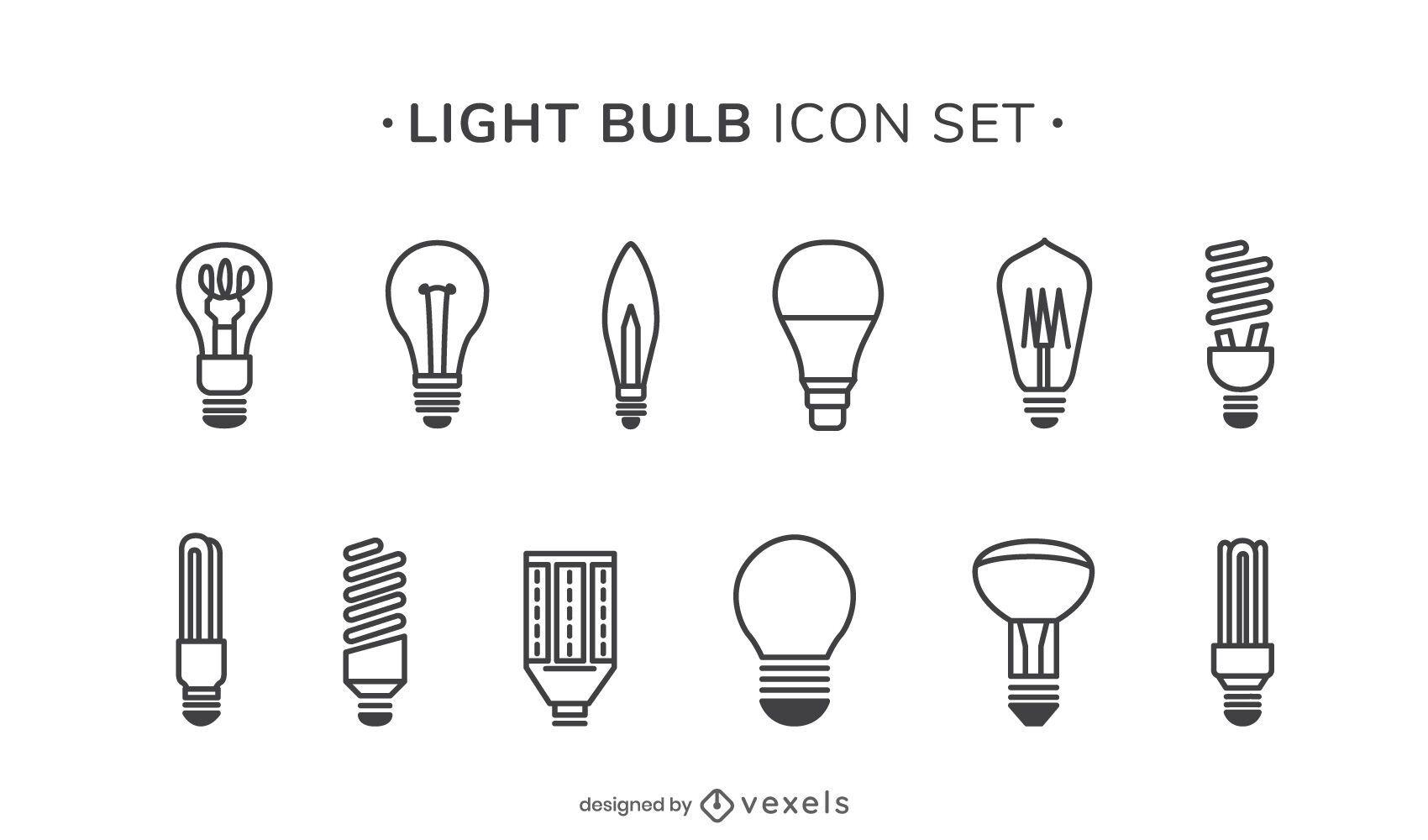 Conjunto de ícones de curso de lâmpadas