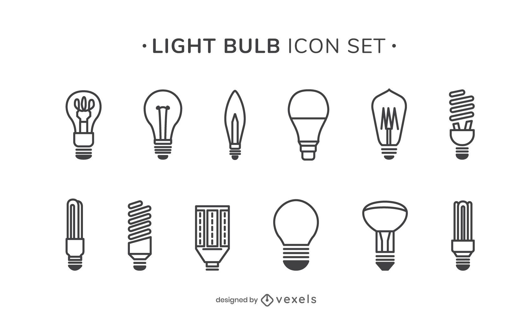 Conjunto de iconos de trazo de bombillas