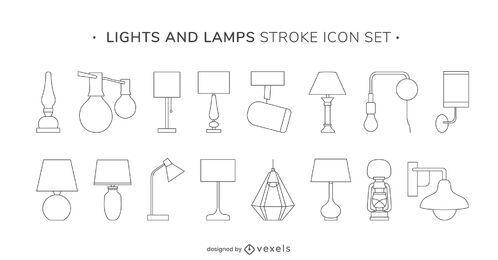 Conjunto de iconos de trazo de luces y lámparas