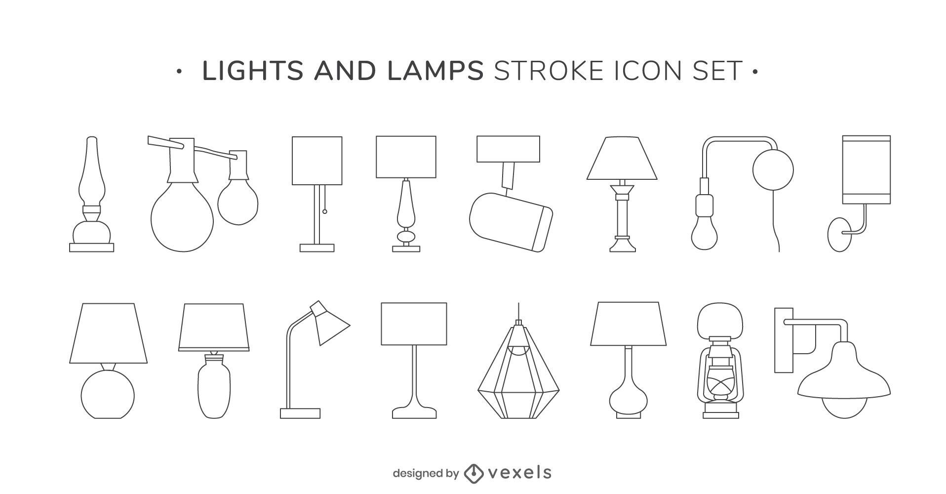 Lights and lamps stroke icon set