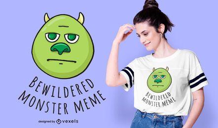 Design de t-shirt Monster Meme confuso