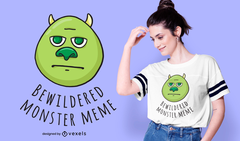 Diseño de camiseta Bewildered Monster Meme