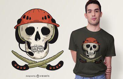 Design de camisetas de caveira e serras