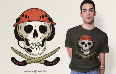 Diseño de camiseta Skull and Saws