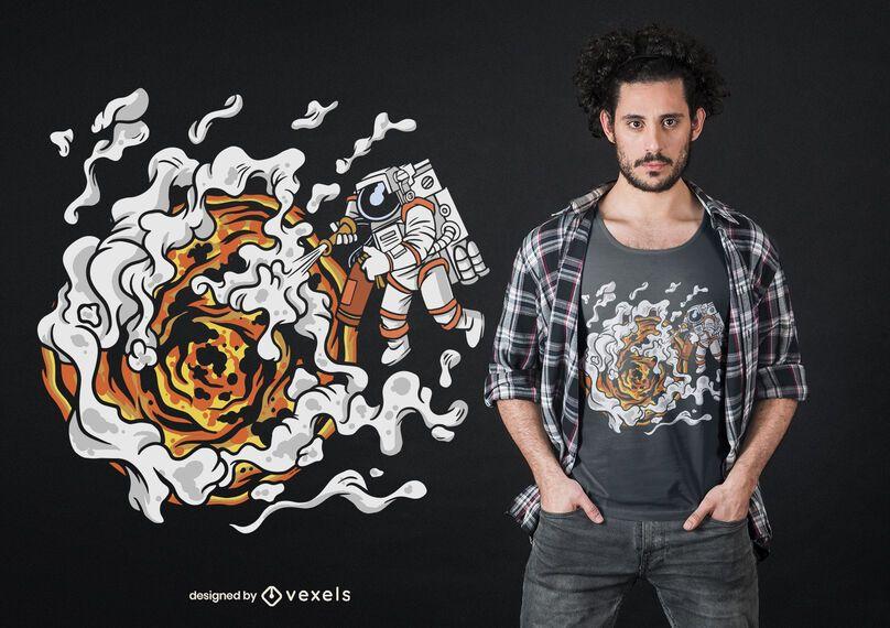 Astronaut extinguishing sun t-shirt design