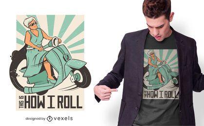 Design de camiseta com citação de mulher Vespa