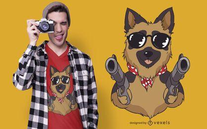 German shepherd guns t-shirt design