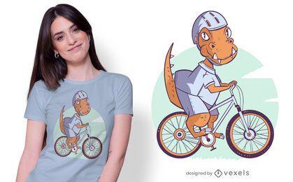 Diseño de camiseta de bicicleta de dinosaurio.